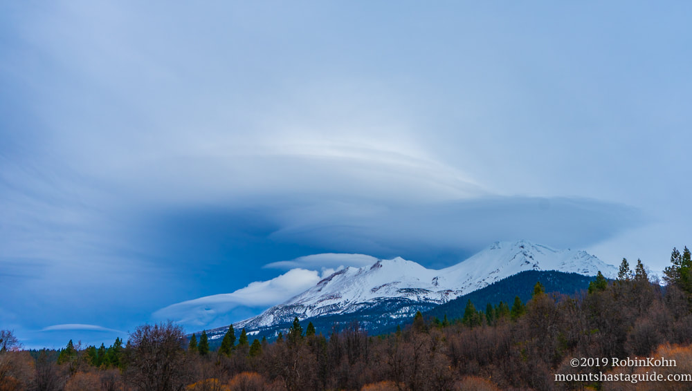 Lenticular clouds, Mt. Shasta, Mount Shasta, snow